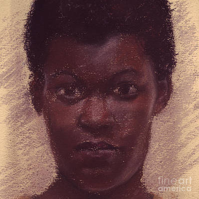 Pastel - Portrait Of Black Girl 3 by Russell Kightley
