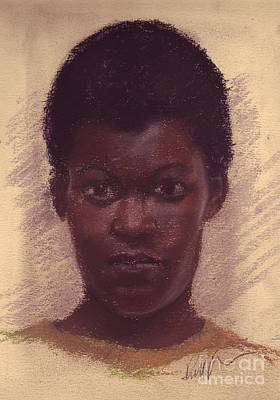 Pastel - Portrait Of Black Girl by Russell Kightley