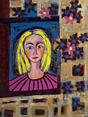 Painting - Portrait Of Blond Lady by Maggis Art
