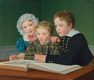 Holm Painting - Portrait Of C F Holms Children by Christoffer Wilhelm Eckersberg