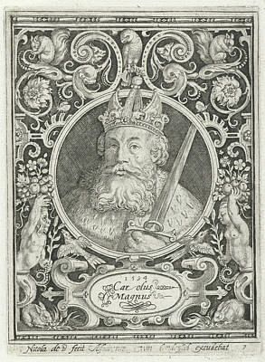Portrait Of Charlemagne In Medallion Inside Rectangular Art Print by Nicolaes De Bruyn And Anonymous
