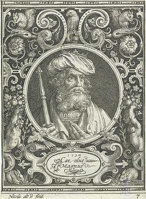 Portrait Of Charlemagne In Medallion Inside Rectangular Art Print by Nicolaes De Bruyn