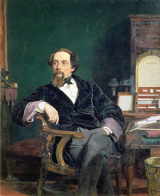 Literature Painting - Portrait Of Charles Dickens by William Powell Frith