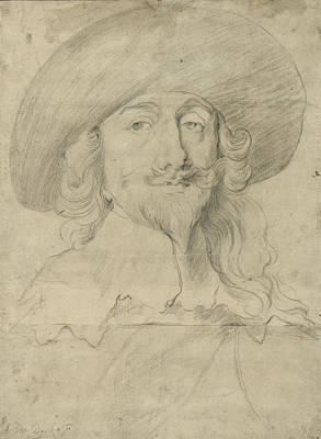 Lace Drawing - Portrait Of Charles I by Sir Anthony van Dyck