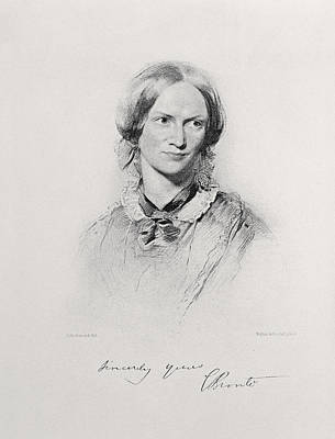Smiling Drawing - Portrait Of Charlotte Bronte, Engraved by George Richmond