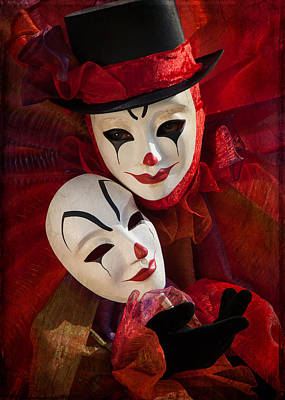 Clown Pair Photograph - Portrait Of Clown With Mask by Zina Zinchik