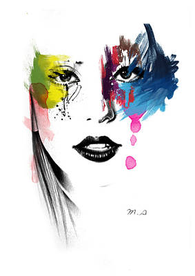 Digital Face Painting - Portrait Of Colors   by Mark Ashkenazi