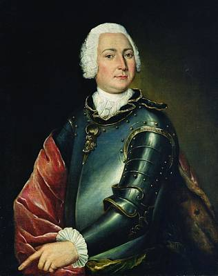 Aristocracy Photograph - Portrait Of Count Ernst Christoph Von Manteuffel Oil On Canvas by Lucas Conrad Pfanzelt