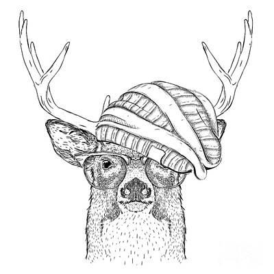 Elk Wall Art - Digital Art - Portrait Of Deer In A Hat. Vector by Sunny Whale