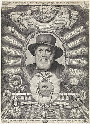 Bible Verse Drawing - Portrait Of Dirck Volckertsz Coornhert In Allegorical Frame by Theodor Matham