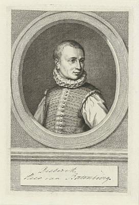 Dirk Drawing - Portrait Of Dirk Van Bronckhorst Batenburg by Jacob Houbraken And Hendrick Goltzius