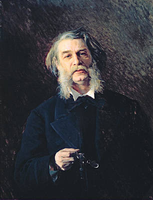 Portrait Of Dmitri Vasilievich Grigorovich 1822-99, 1876 Oil On Canvas Art Print by Ivan Nikolaevich Kramskoy