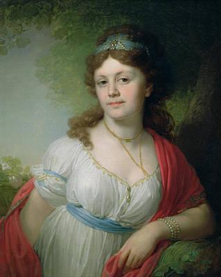Portrait Of E Temkina, 1798 Art Print by Vladimir Lukich Borovikovsky