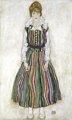 Striped Dress Painting - Portrait Of Edith Schiele, The Artists by Egon Schiele
