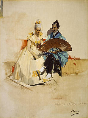 Portrait Of Edward Arthur Walton With His Fiancee Helen Law As Hokusai And The Butterfly, 1889 Oil Art Print by Sir John Lavery