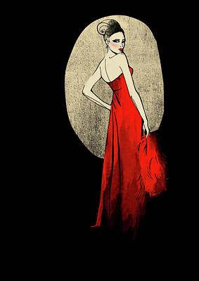 Digital Art - Portrait Of Elegant Woman In Red Dress by Susan Hassmann