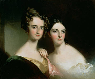 Portrait Of Ellen And Mary Mcilvaine, 1834 Oil On Canvas Art Print by Thomas Sully