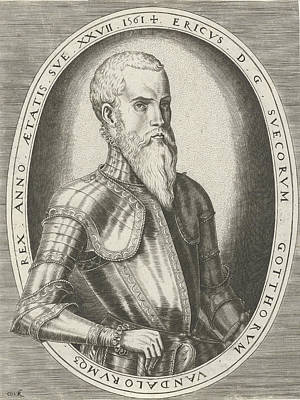 Sweden Drawing - Portrait Of Eric Xiv Of Sweden, Frans Huys by Frans Huys And Hieronymus Cock