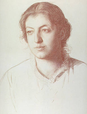 Girl Face Drawing - Portrait Of Euterpe Ionides by Joseph Benwell Clark