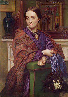 Shawl Painting - Portrait Of Fanny Holman Hunt 1866-68 by William Holman Hunt