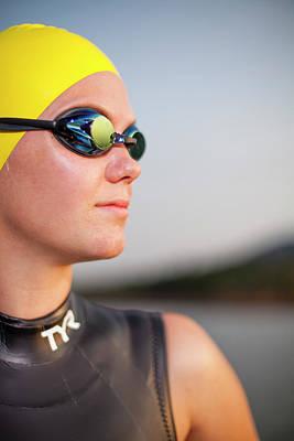 Portrait Of Female Triathlete Art Print