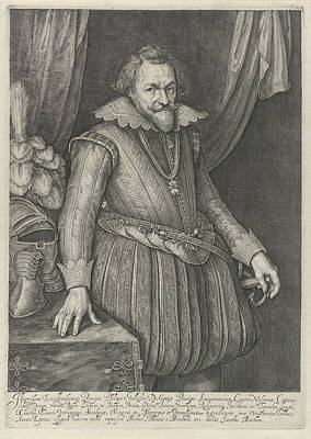 Harness Drawing - Portrait Of Filips Willem, Prins Van Oranje by Jacob Matham