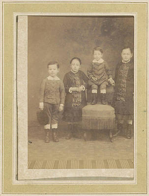 Portrait Of Four Children In A Chair, Anonymous Art Print