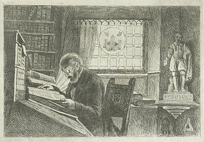 Statue Portrait Drawing - Portrait Of Frederick Verachter At His Desk In The Archive by Philippus Jacobus Van Bree