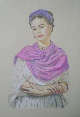 Frida Drawing - Portrait Of Frida Kahlo by Alix Mordant