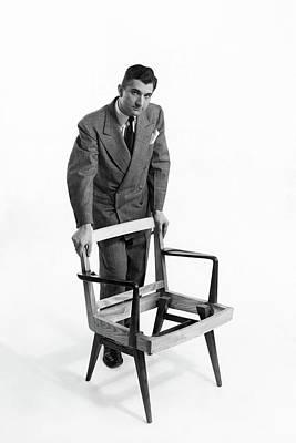 Button Down Shirt Photograph - Portrait Of Furniture Designer Jens Risom by Herbert Matter