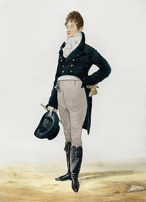 Portrait Of George Beau Brummell Art Print by Robert Dighton