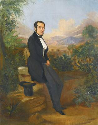 Portrait Of George Hellmann Before A Vista In Tacna Art Print by Celestial Images