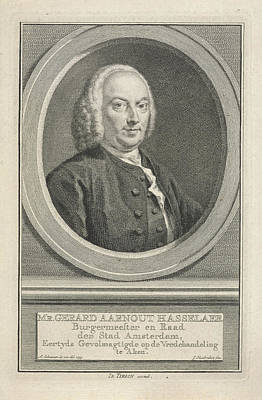 Data Drawing - Portrait Of Gerard Aarnout Hasselaer, Jacob Houbraken by Jacob Houbraken And Isaak Tirion