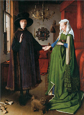 Of A Man And Woman Painting - Portrait Of Giovanni Arnolfini And His Wife by Jan Van Eyck