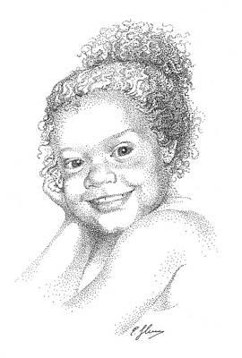 Portrait Of Girl. Commission. Stippling In Black Ink Art Print