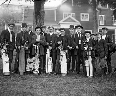 Portrait Of Golf Caddies Art Print by Underwood Archives