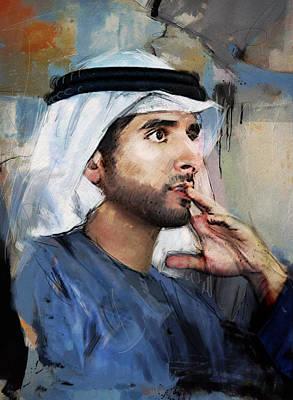 President Painting - Portrait Of Hamdan Bin Mohammad Bin Rashid Al Maktoum by Maryam Mughal