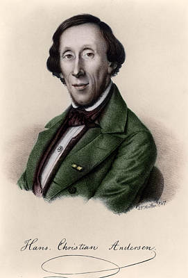 Autographed Drawing - Portrait Of Hans Christian Andersen by Johan Frederick Moller