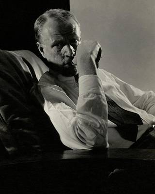 Reclining Chairs Photograph - Portrait Of Harry Sinclair Lewis by Edward Steichen
