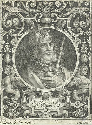 Portrait Of Hector Of Troy In Medallion Inside Rectangular Art Print by Nicolaes De Bruyn And Anonymous