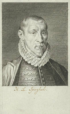 Mirror Drawing - Portrait Of Hendrick Laurensz. Spieghel, Writer And Poet by Jan Harmensz. Muller