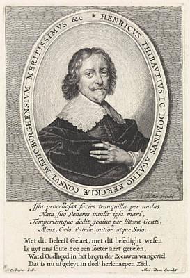 Zeeland Drawing - Portrait Of Hendrick Thibaut, Crispijn Van De Passe II by Crispijn Van De Passe (ii) And Cornelis Boey And Michiel Roman
