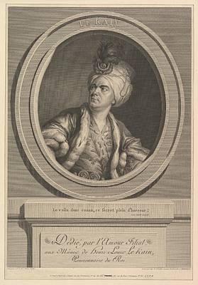 Noir Drawing - Portrait Of Henri-louis Le Kain by Augustin de Saint-Aubin