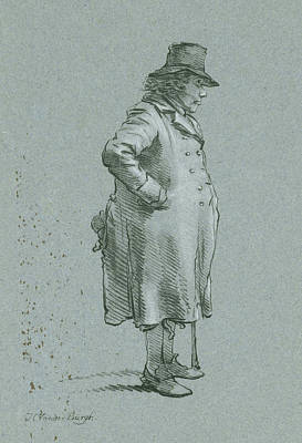 Burgh Drawing - Portrait Of Henry Delbroek, Standing, Right Profile by Hendrik Van Der Burgh