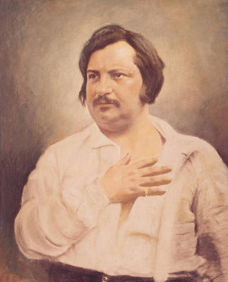 Portrait Of Honore De Balzac Art Print by French School