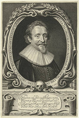 Hugo Drawing - Portrait Of Hugo Grotius At The Age Of 49 by Willem Jacobsz. Delff And Dani?l Heinsius