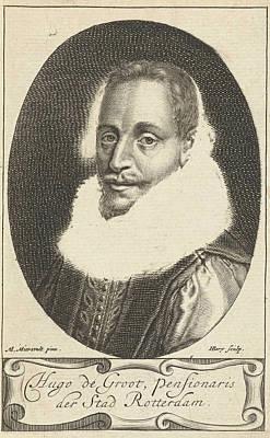 Hugo Drawing - Portrait Of Hugo Grotius, Hendrik Bary by Hendrik Bary