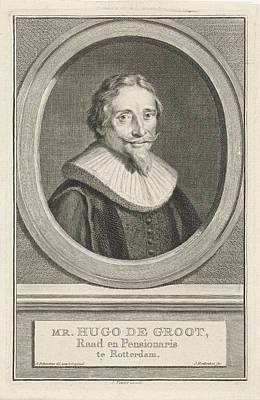 Hugo Drawing - Portrait Of Hugo Grotius, Jacob Houbraken by Jacob Houbraken And Isaak Tirion