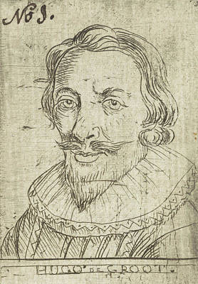 Hugo Drawing - Portrait Of Hugo Grotius Or Hugo De Groot by Rienk Jelgerhuis