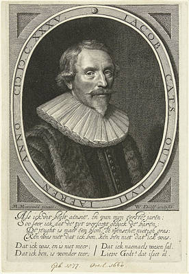 Portrait Of Jacob Cats At The Age Of 57 Art Print by Willem Jacobsz. Delff